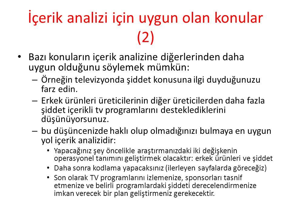 İçerik analizi için uygun olan konular (2)