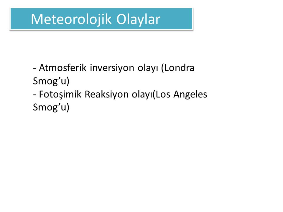 Meteorolojik Olaylar - Atmosferik inversiyon olayı (Londra Smog'u)