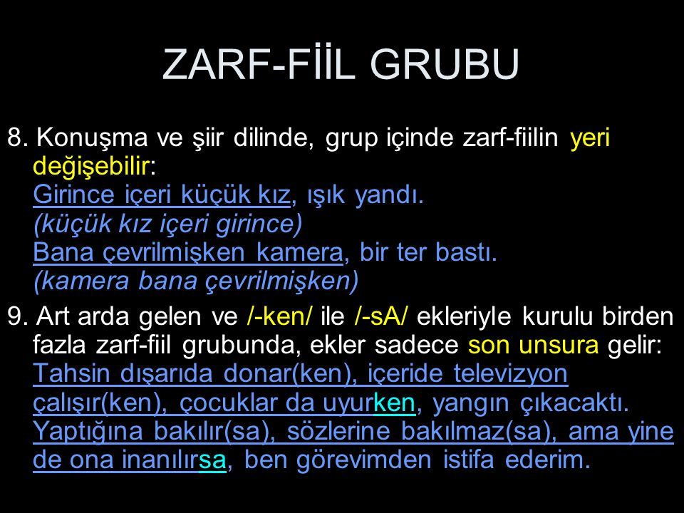 ZARF-FİİL GRUBU