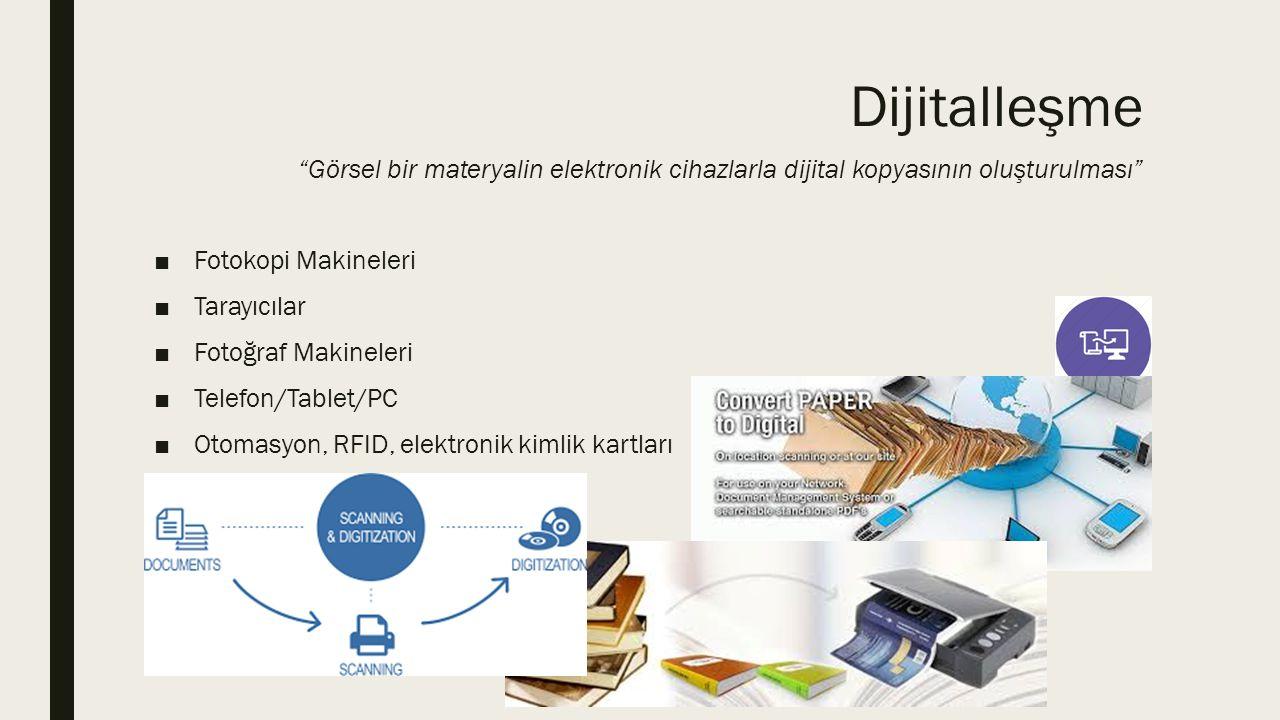 Dijitalleşme Görsel bir materyalin elektronik cihazlarla dijital kopyasının oluşturulması
