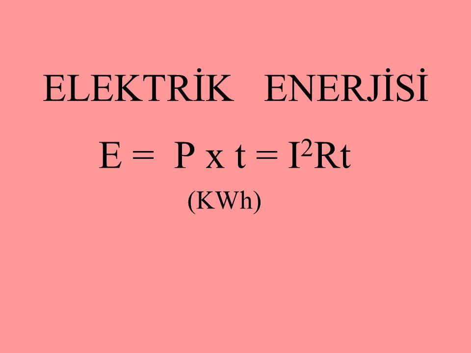 ELEKTRİK ENERJİSİ E = P x t = I2Rt (KWh)