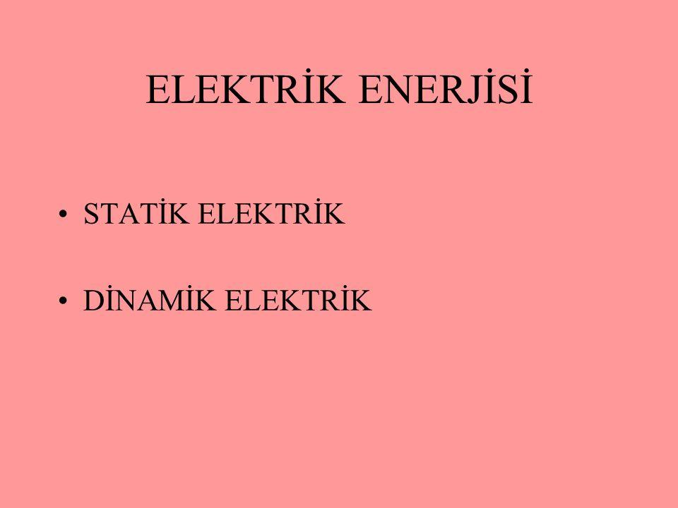 ELEKTRİK ENERJİSİ STATİK ELEKTRİK DİNAMİK ELEKTRİK