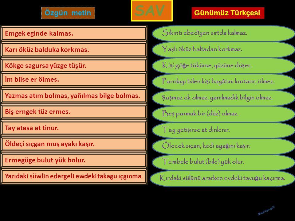 SAV Özgün metin Günümüz Türkçesi Emgek eginde kalmas.