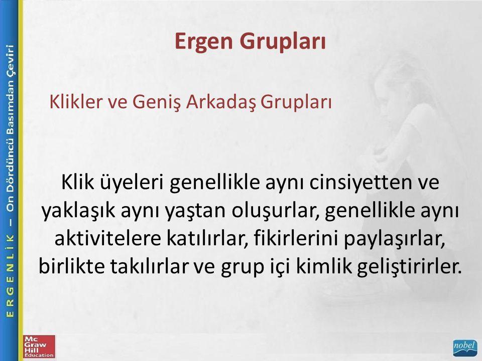 Ergen Grupları Klikler ve Geniş Arkadaş Grupları.