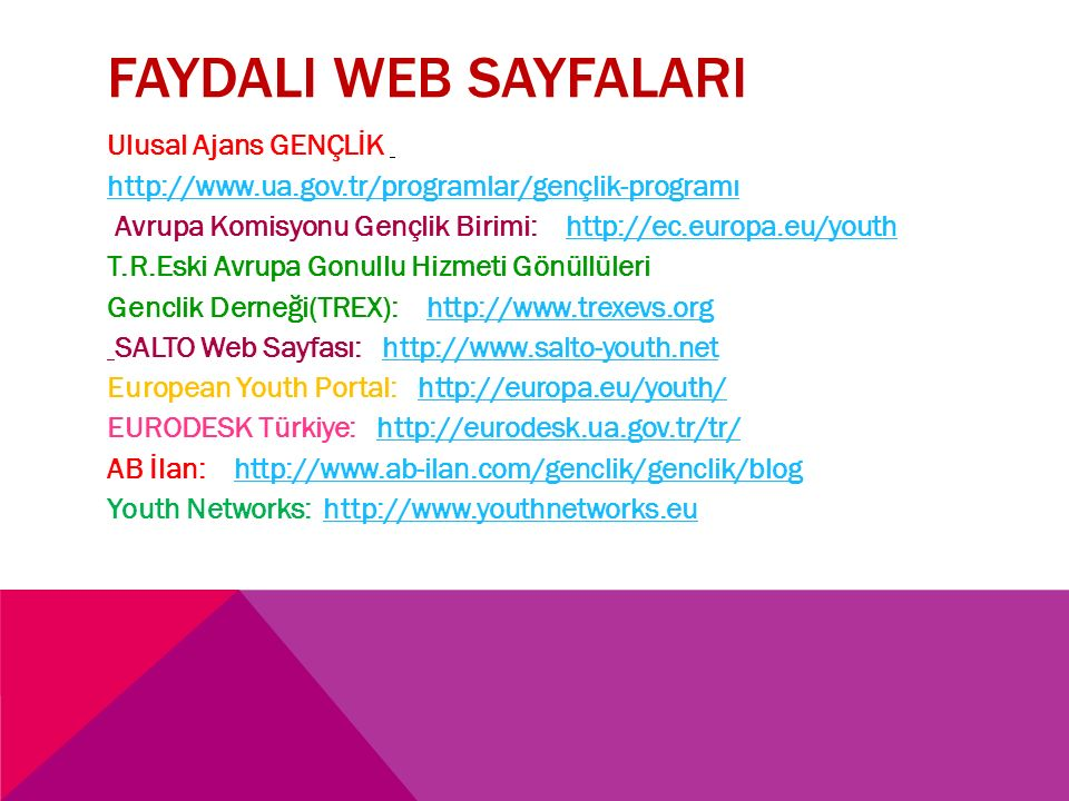 FAYDALI WEB SAYFALARI