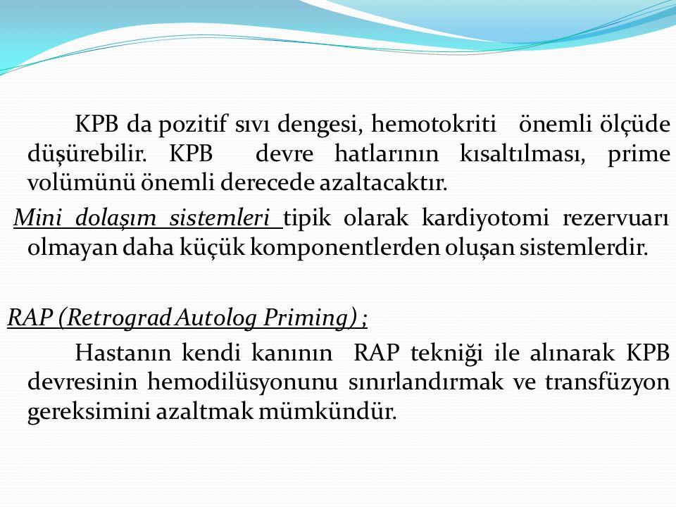 KPB da pozitif sıvı dengesi, hemotokriti önemli ölçüde düşürebilir