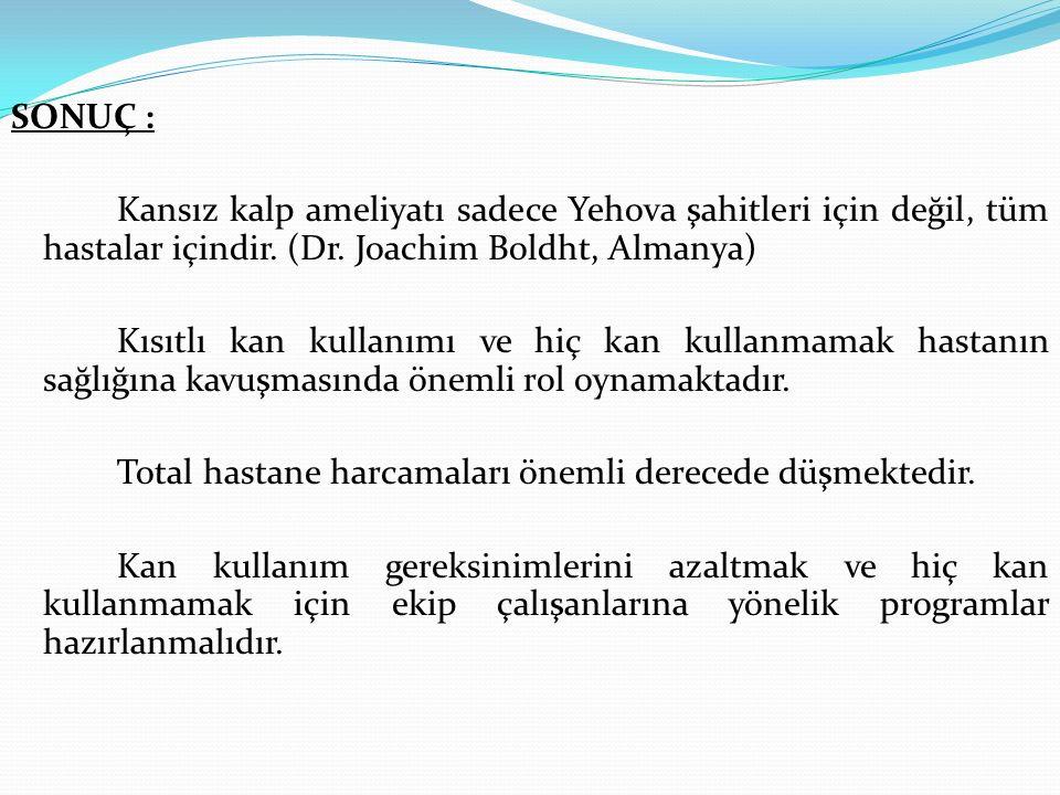 SONUÇ : Kansız kalp ameliyatı sadece Yehova şahitleri için değil, tüm hastalar içindir.
