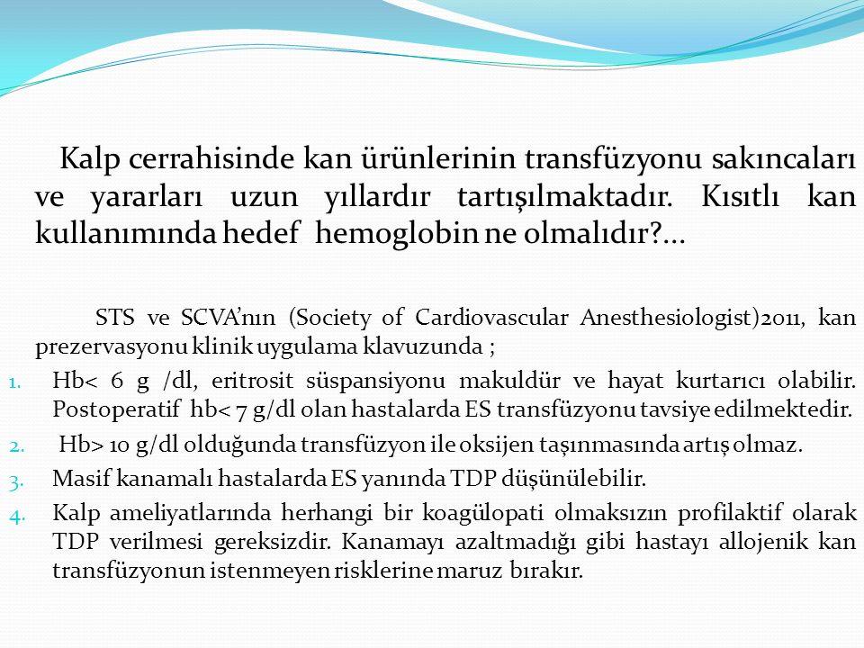 Kalp cerrahisinde kan ürünlerinin transfüzyonu sakıncaları ve yararları uzun yıllardır tartışılmaktadır. Kısıtlı kan kullanımında hedef hemoglobin ne olmalıdır ...