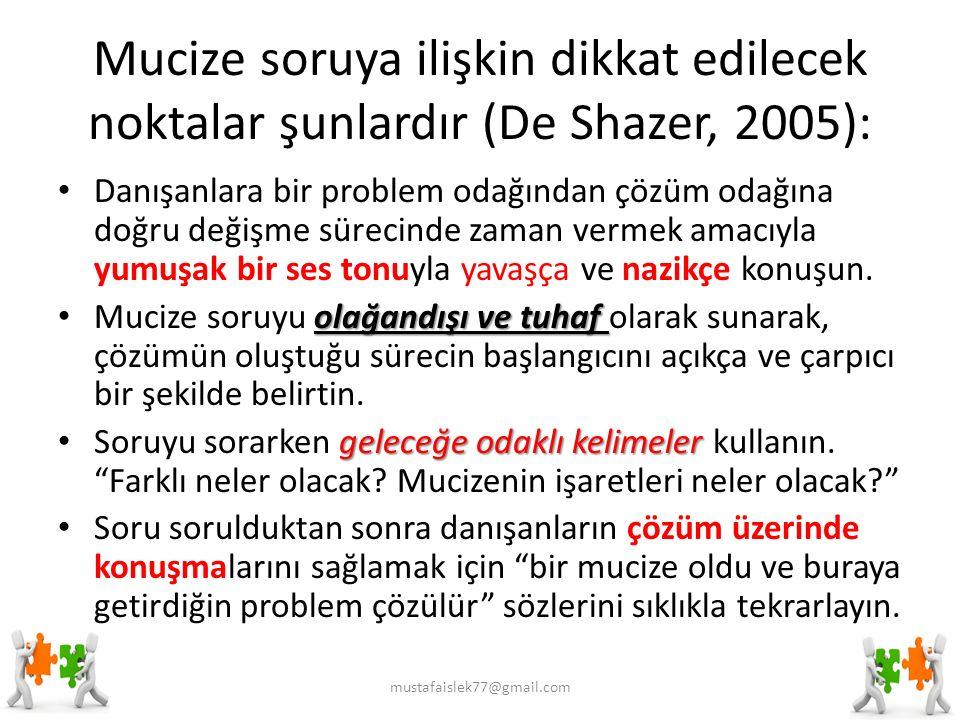 Mucize soruya ilişkin dikkat edilecek noktalar şunlardır (De Shazer, 2005):