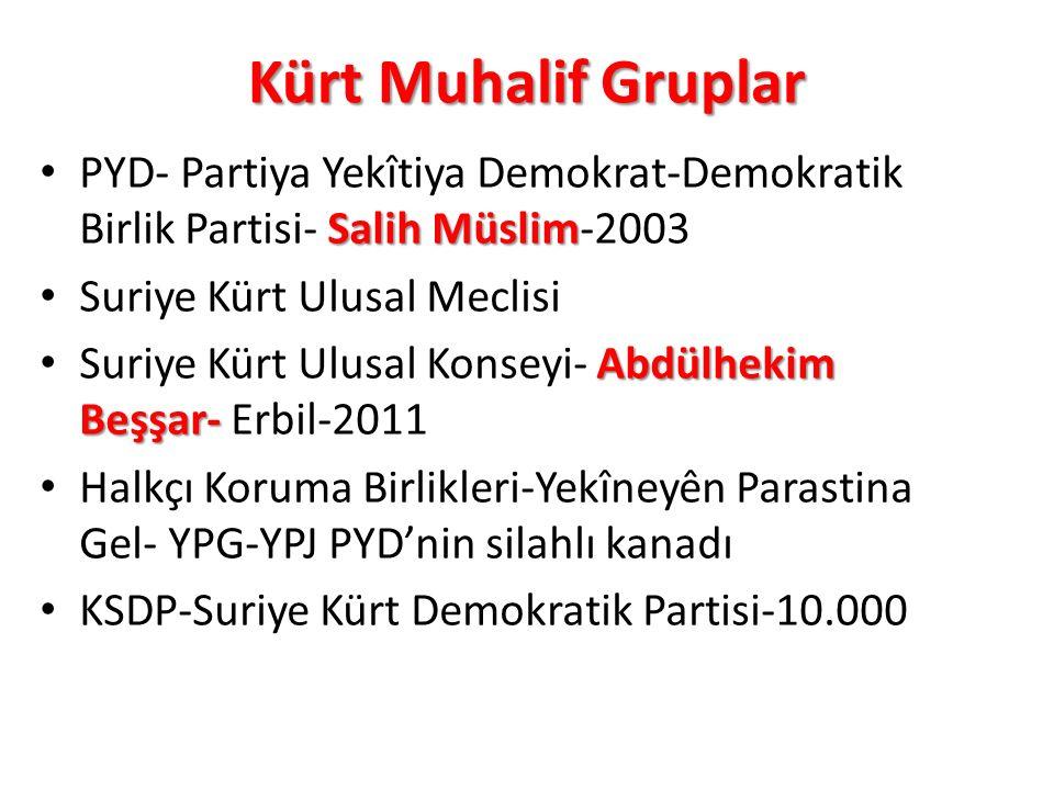 Kürt Muhalif Gruplar PYD- Partiya Yekîtiya Demokrat-Demokratik Birlik Partisi- Salih Müslim-2003. Suriye Kürt Ulusal Meclisi.