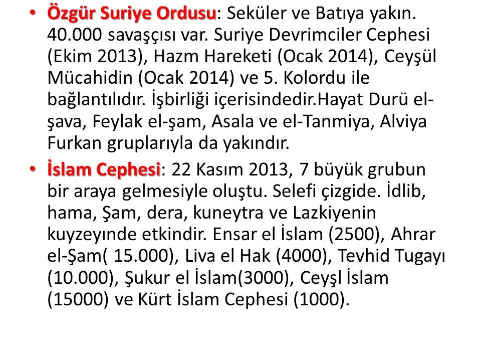 Özgür Suriye Ordusu: Seküler ve Batıya yakın. 40. 000 savaşçısı var