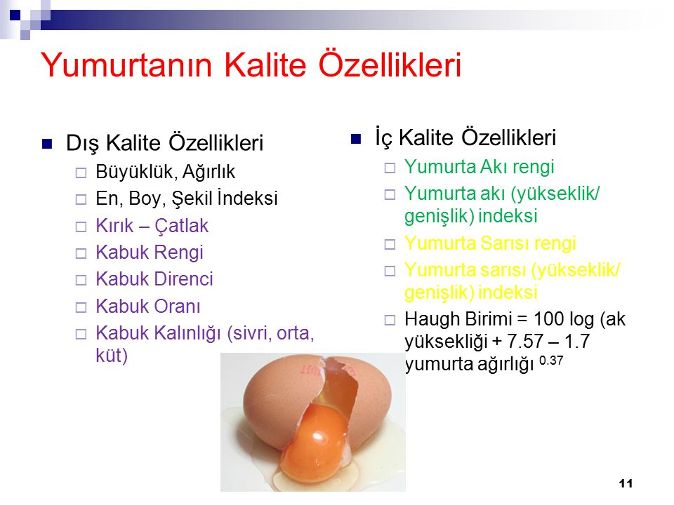 Yumurtanın Kalite Özellikleri