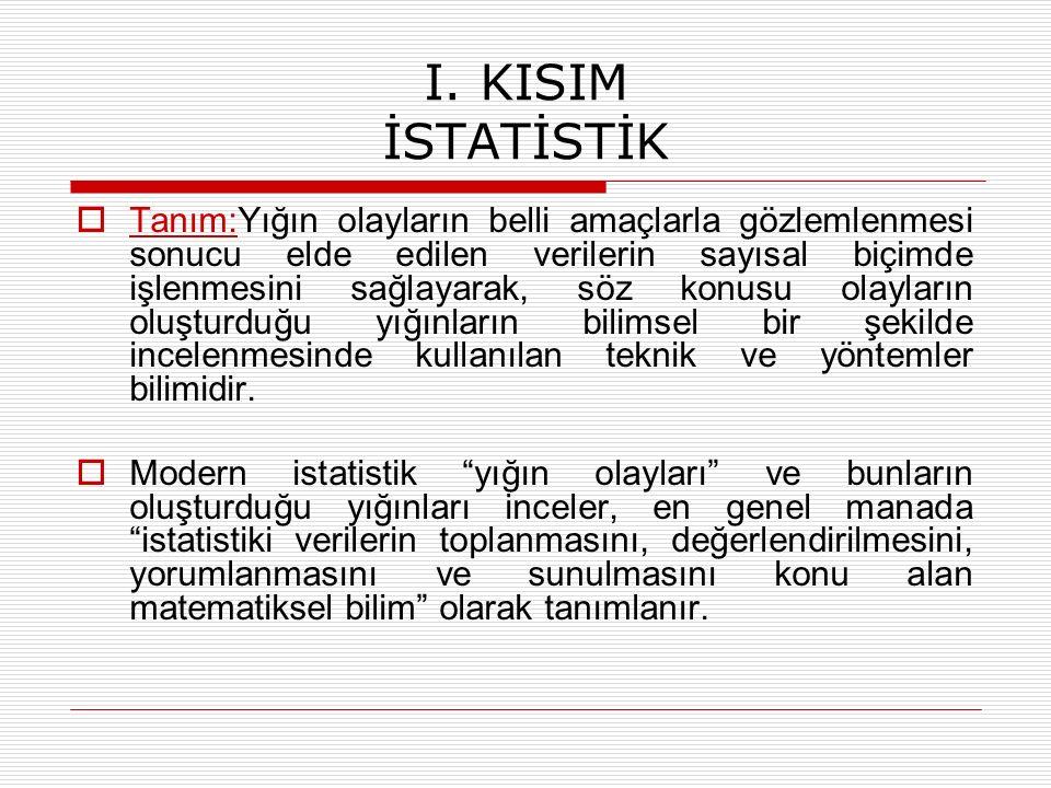 I. KISIM İSTATİSTİK