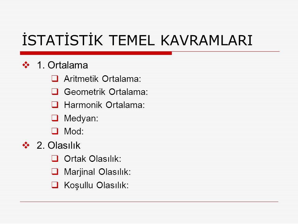 İSTATİSTİK TEMEL KAVRAMLARI