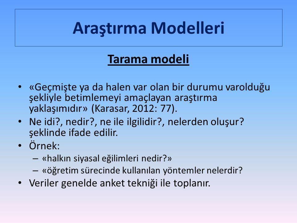 Araştırma Modelleri Tarama modeli