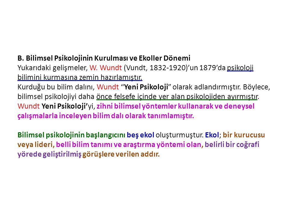 B. Bilimsel Psikolojinin Kurulması ve Ekoller Dönemi Yukarıdaki gelişmeler, W.