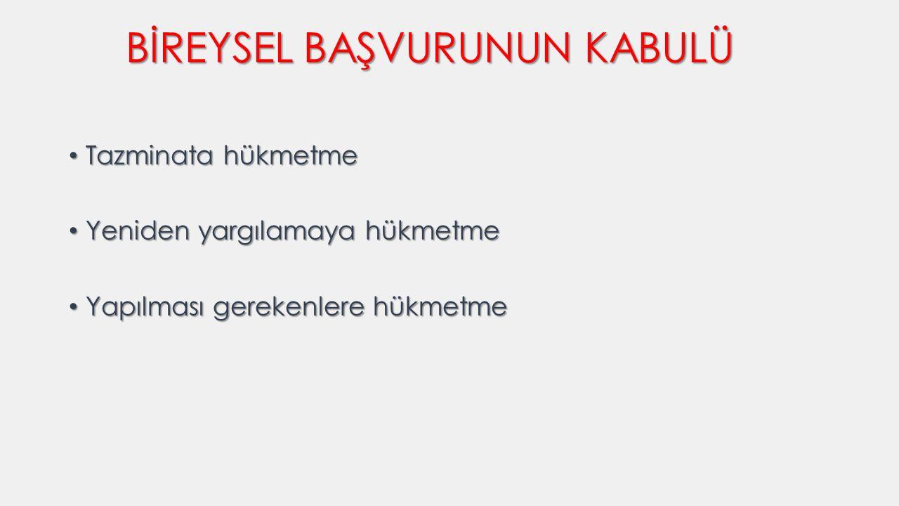 BİREYSEL BAŞVURUNUN KABULÜ