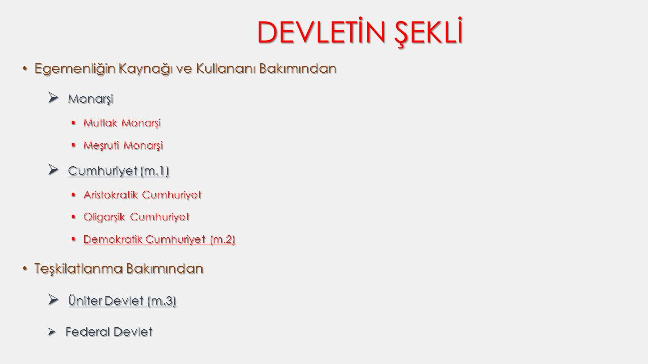 DEVLETİN ŞEKLİ Monarşi Cumhuriyet (m.1) Üniter Devlet (m.3)