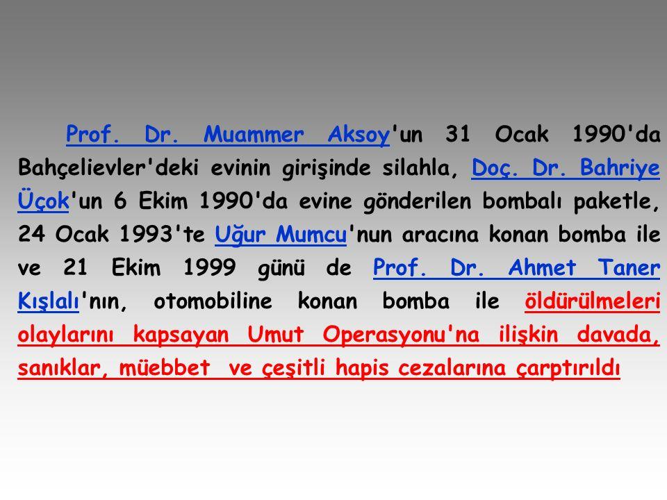 Prof. Dr. Muammer Aksoy un 31 Ocak 1990 da Bahçelievler deki evinin girişinde silahla, Doç.