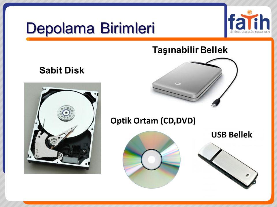 Depolama Birimleri Taşınabilir Bellek Sabit Disk Optik Ortam (CD,DVD)