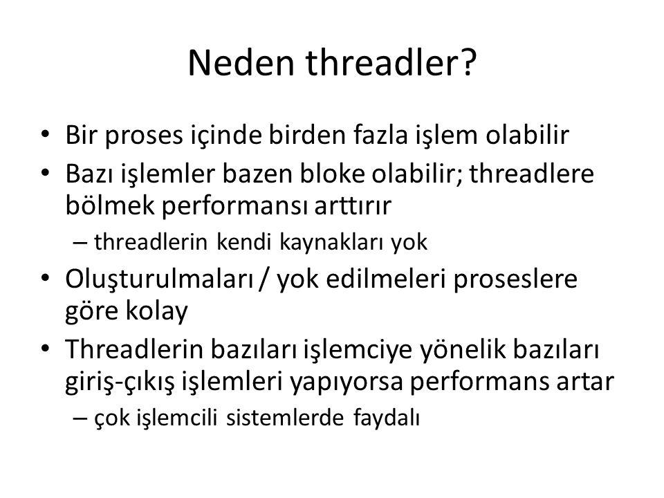 Neden threadler Bir proses içinde birden fazla işlem olabilir