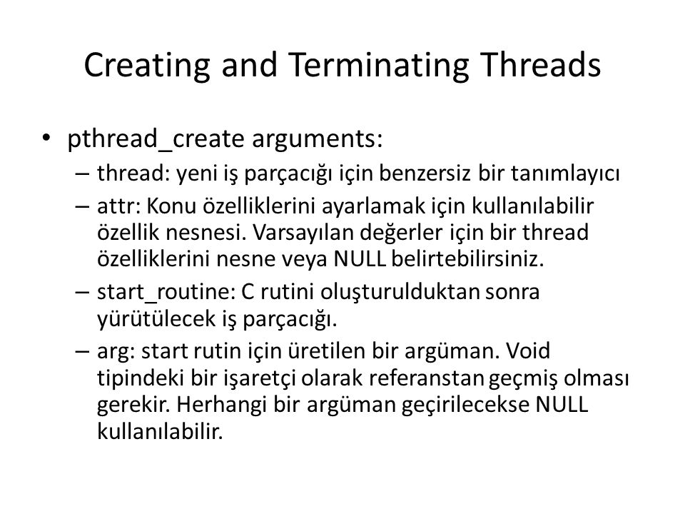 Creating and Terminating Threads