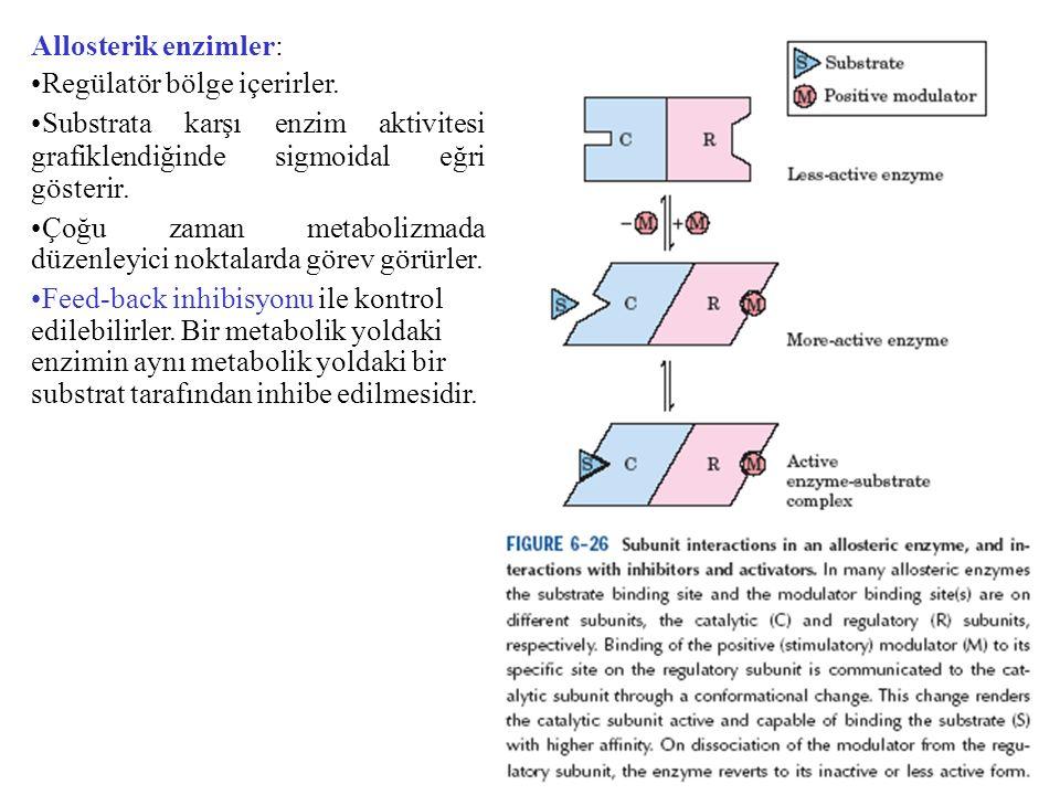 Allosterik enzimler: Regülatör bölge içerirler. Substrata karşı enzim aktivitesi grafiklendiğinde sigmoidal eğri gösterir.
