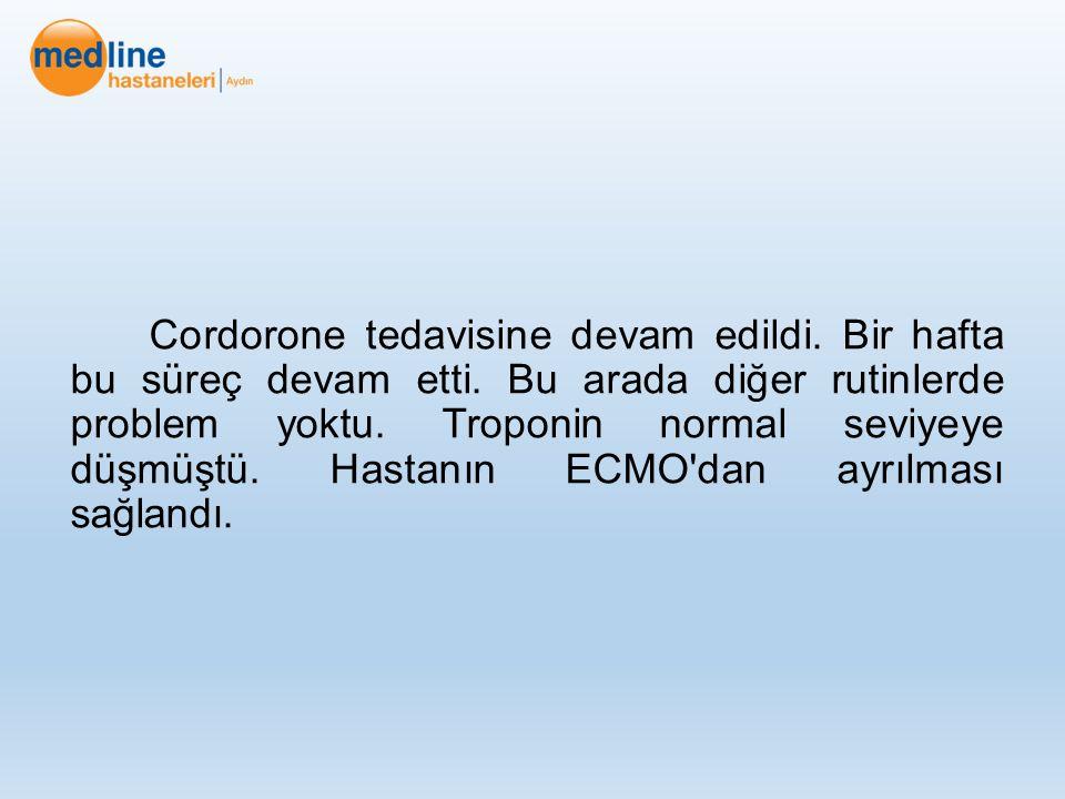 Cordorone tedavisine devam edildi. Bir hafta bu süreç devam etti