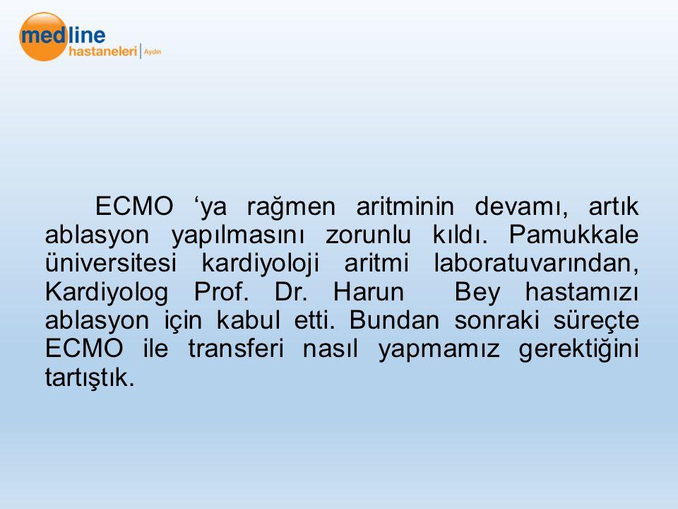 ECMO 'ya rağmen aritminin devamı, artık ablasyon yapılmasını zorunlu kıldı.