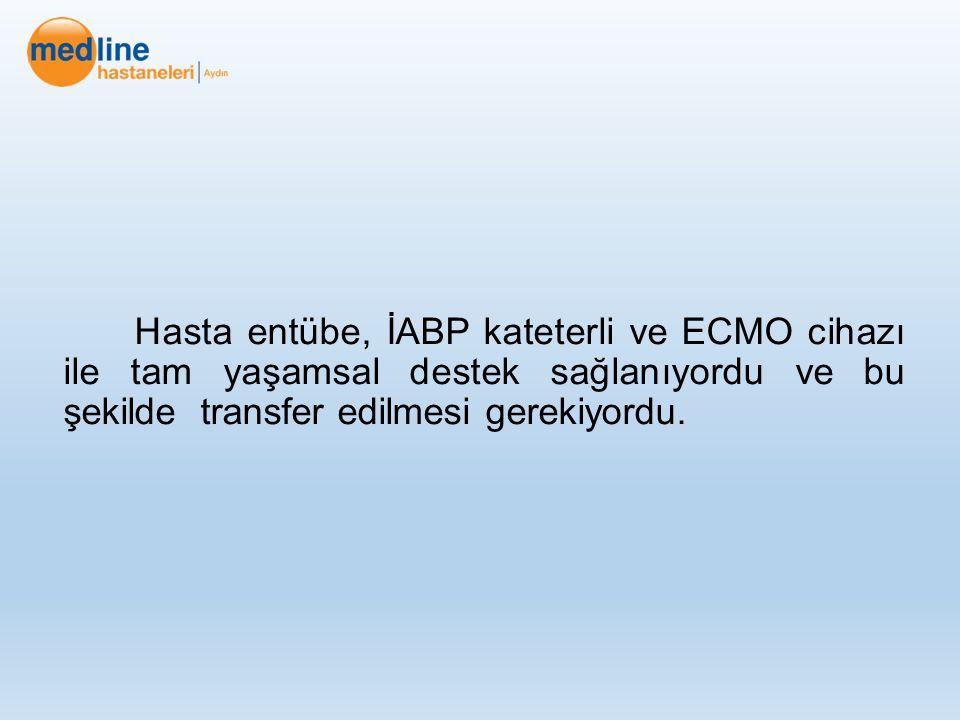 Hasta entübe, İABP kateterli ve ECMO cihazı ile tam yaşamsal destek sağlanıyordu ve bu şekilde transfer edilmesi gerekiyordu.