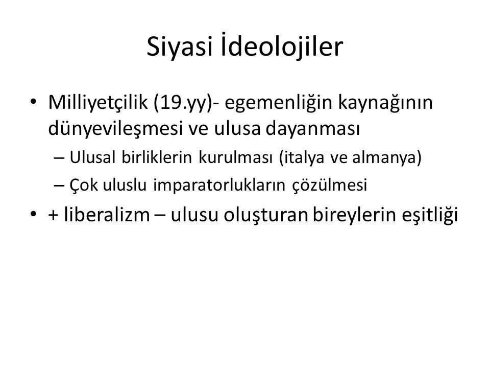 Siyasi İdeolojiler Milliyetçilik (19.yy)- egemenliğin kaynağının dünyevileşmesi ve ulusa dayanması.