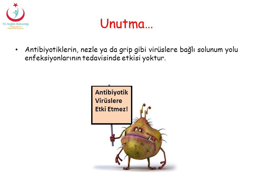 Unutma… Antibiyotiklerin, nezle ya da grip gibi virüslere bağlı solunum yolu enfeksiyonlarının tedavisinde etkisi yoktur.