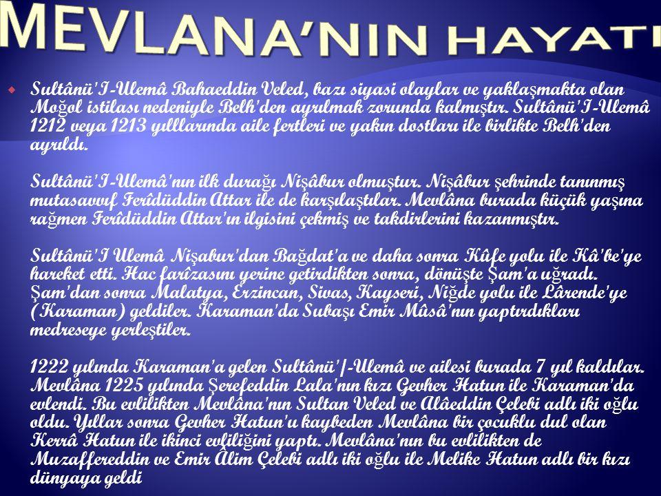 MEVLANA'NIN HAYATI