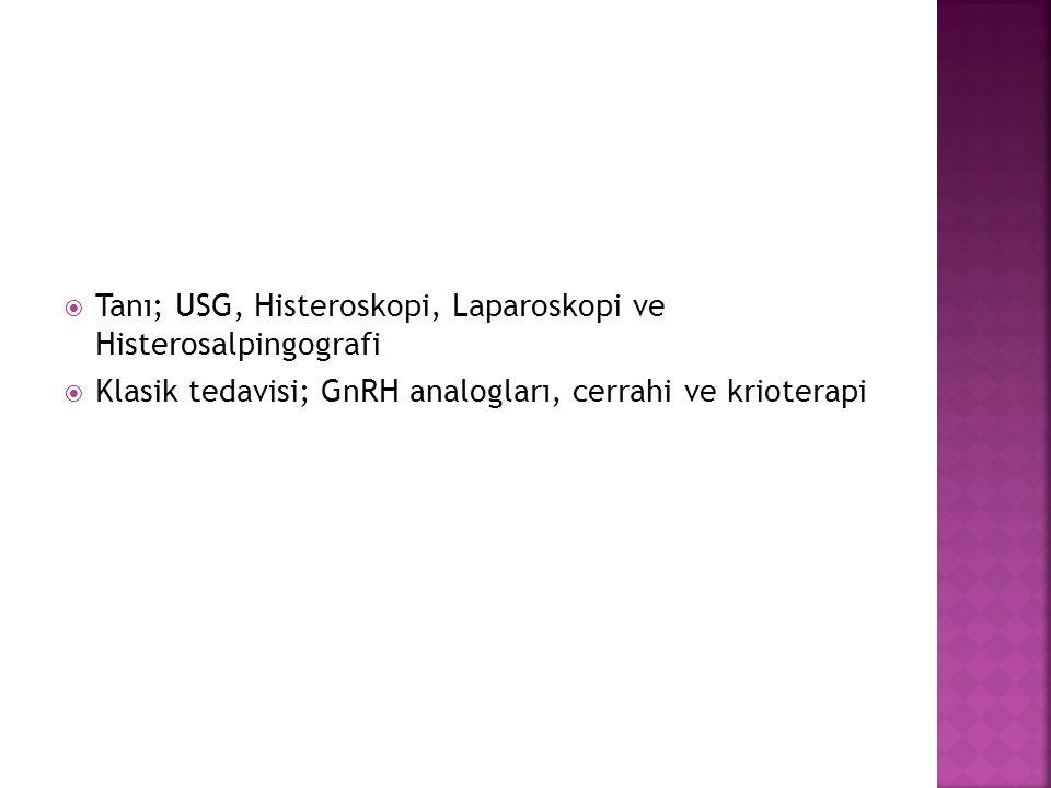 Tanı; USG, Histeroskopi, Laparoskopi ve Histerosalpingografi