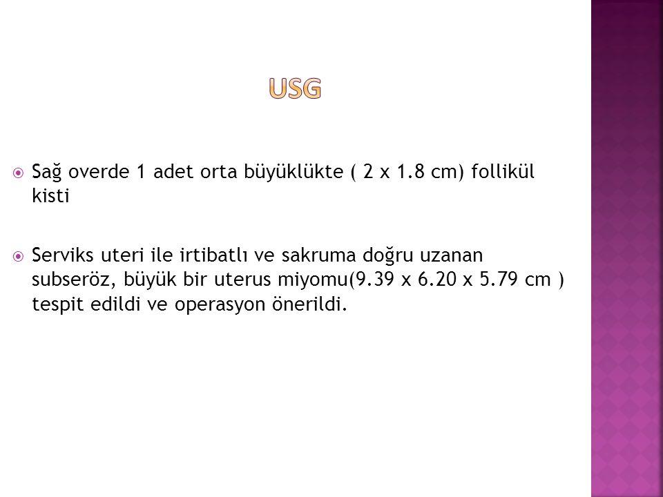USG Sağ overde 1 adet orta büyüklükte ( 2 x 1.8 cm) follikül kisti