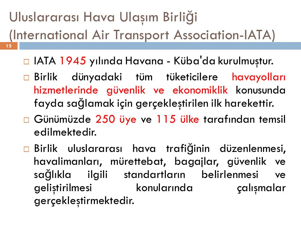 Uluslararası Hava Ulaşım Birliği (International Air Transport Association-IATA)