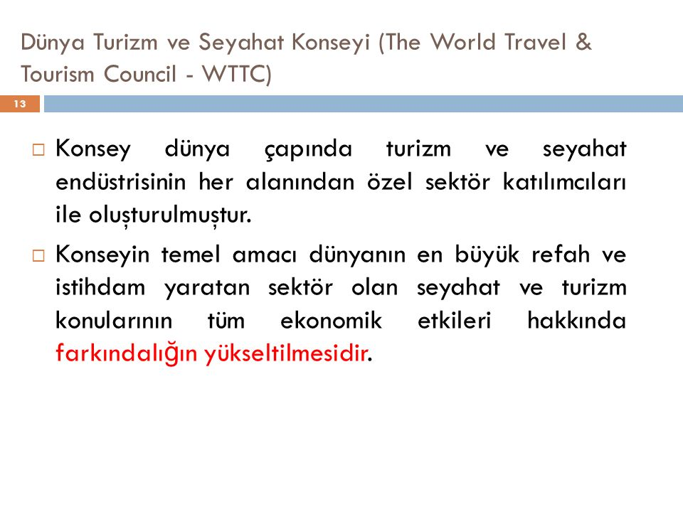 Dünya Turizm ve Seyahat Konseyi (The World Travel & Tourism Council - WTTC)