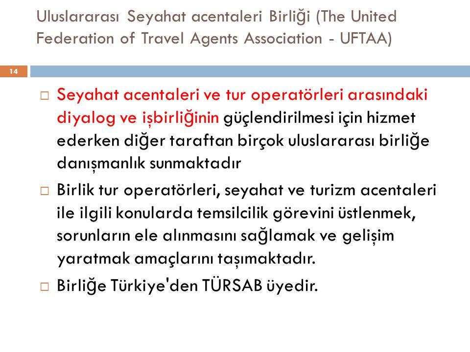 Birliğe Türkiye den TÜRSAB üyedir.