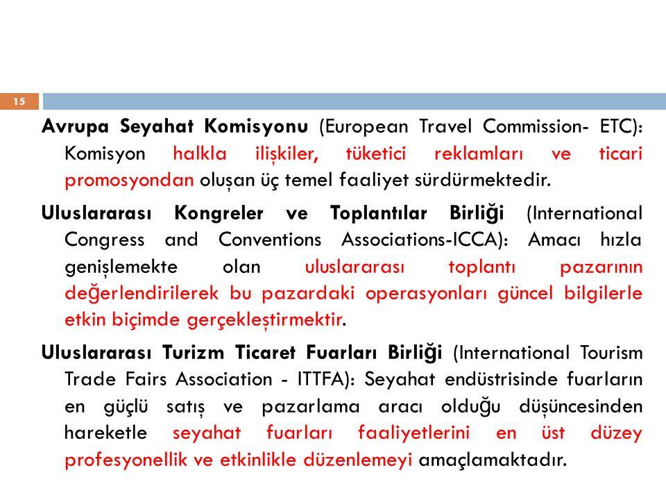 Avrupa Seyahat Komisyonu (European Travel Commission- ETC): Komisyon halkla ilişkiler, tüketici reklamları ve ticari promosyondan oluşan üç temel faaliyet sürdürmektedir.