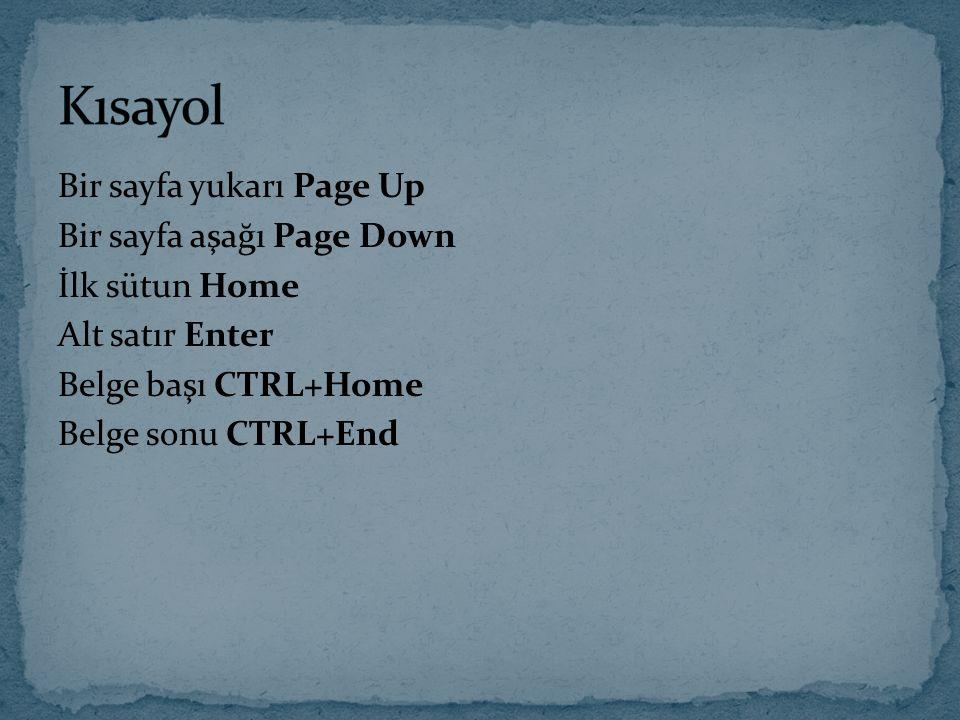 Kısayol Bir sayfa yukarı Page Up Bir sayfa aşağı Page Down İlk sütun Home Alt satır Enter Belge başı CTRL+Home Belge sonu CTRL+End