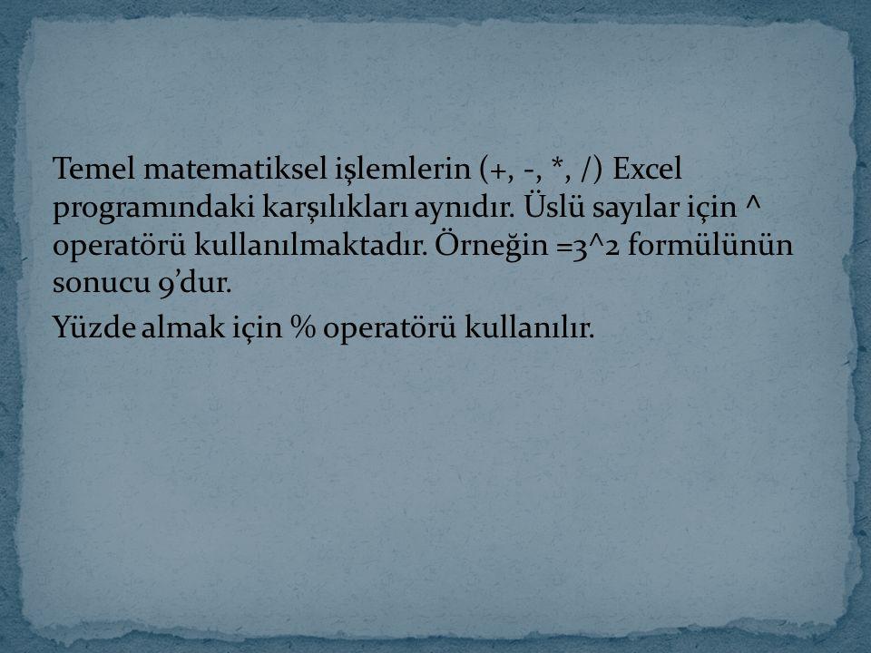 Temel matematiksel işlemlerin (+, -,
