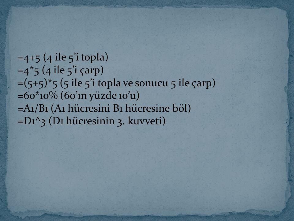 =4+5 (4 ile 5'i topla) =4. 5 (4 ile 5'i çarp) =(5+5)