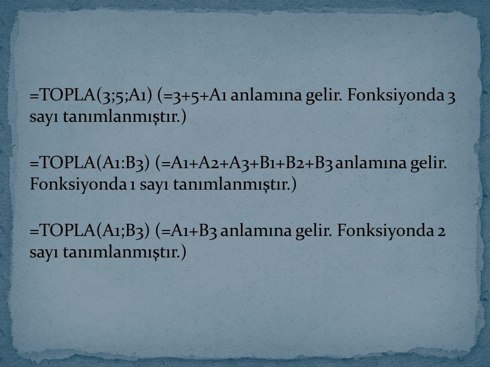 =TOPLA(3;5;A1) (=3+5+A1 anlamına gelir