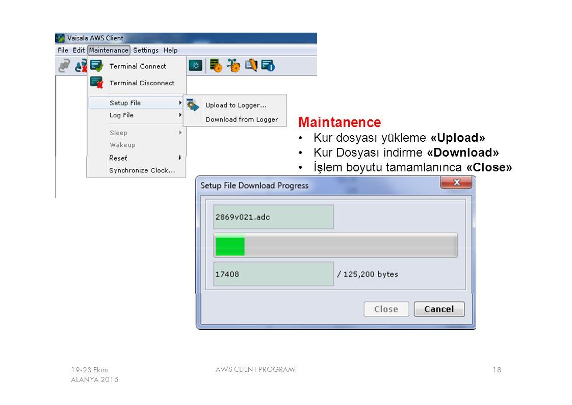 Maintanence Kur dosyası yükleme «Upload»