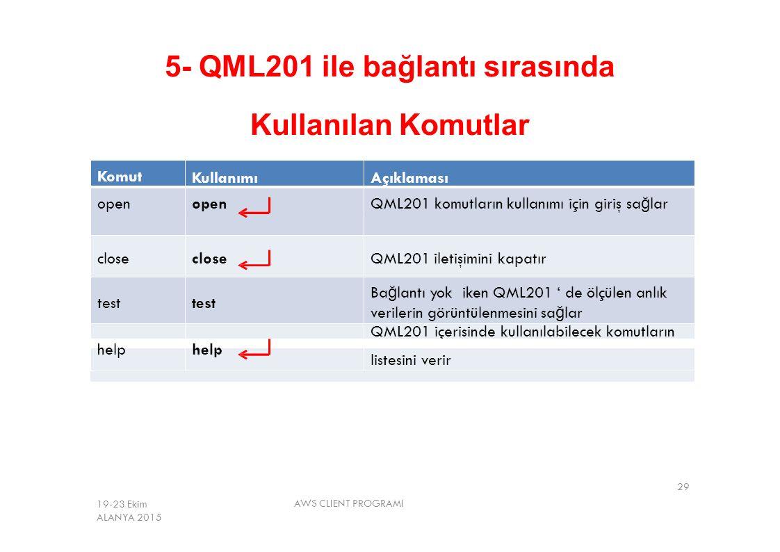 5- QML201 ile bağlantı sırasında