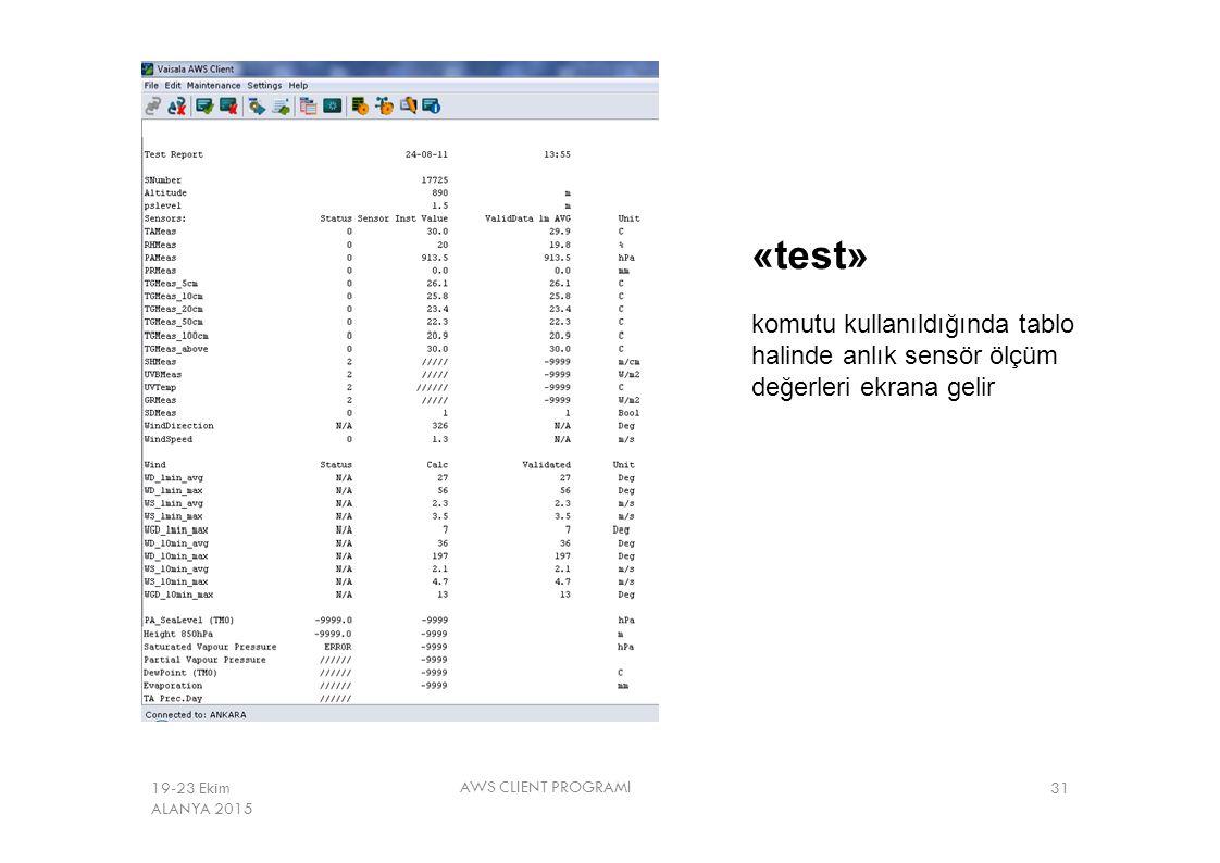 «test» komutu kullanıldığında tablo halinde anlık sensör ölçüm değerleri ekrana gelir. 19-23 Ekim ALANYA 2015.