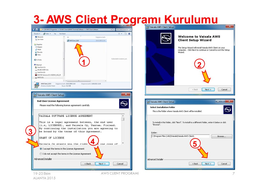 3- AWS Client Programı Kurulumu
