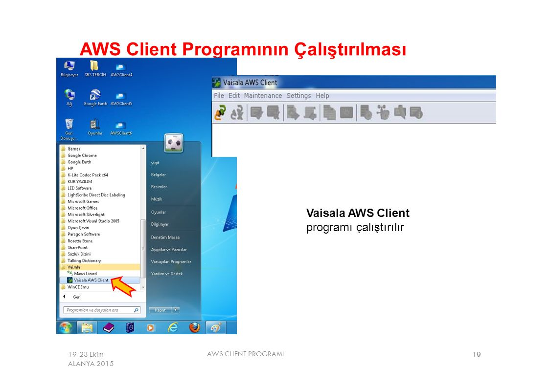 AWS Client Programının Çalıştırılması