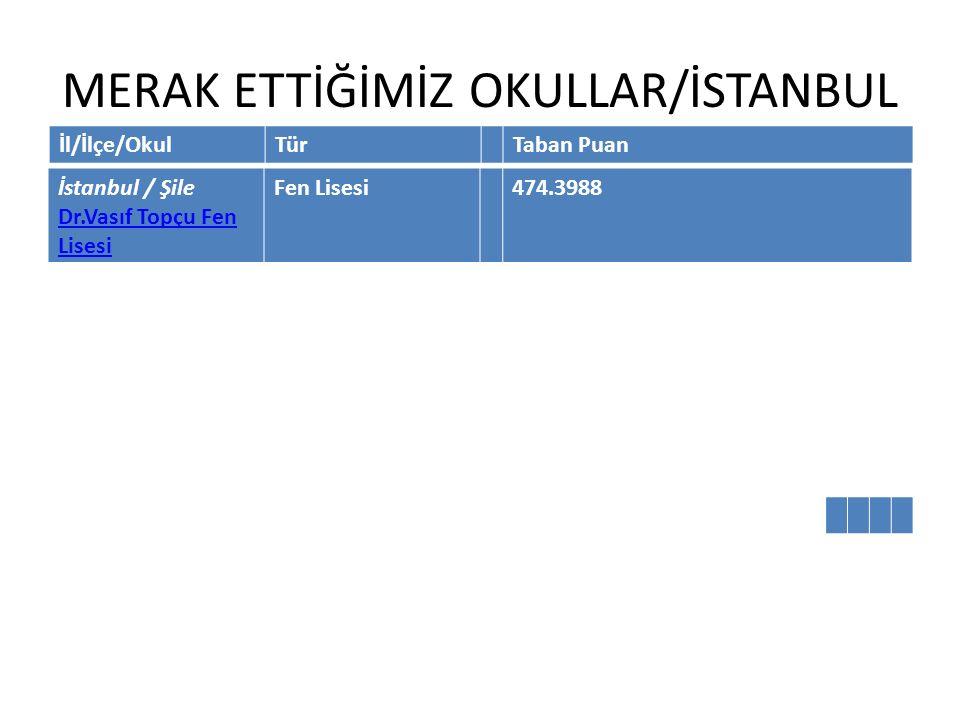 MERAK ETTİĞİMİZ OKULLAR/İSTANBUL