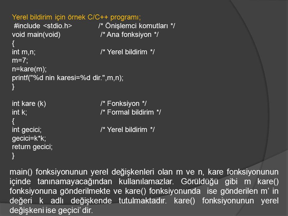 Yerel bildirim için örnek C/C++ programı;